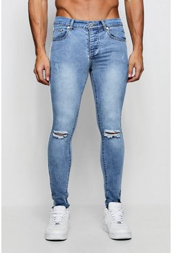 Mens Washed blue Spray On Skinny Jeans with Piped Side Seam