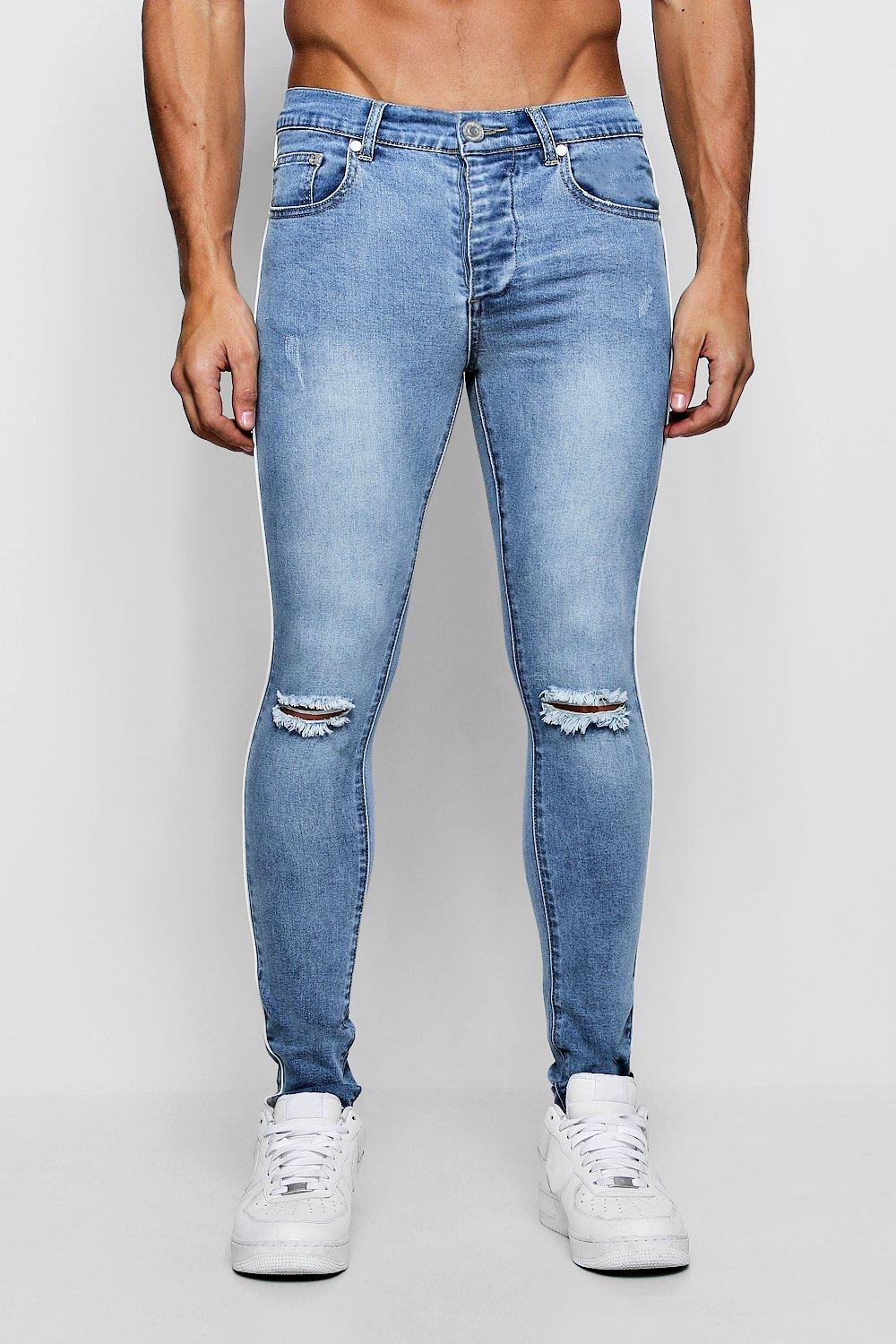 4163c5af0a Spray On Skinny Jeans with Piped Side Seam | Boohoo