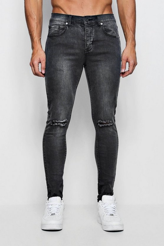 Super Skinny Distressed Jeans with Printed Back Hem