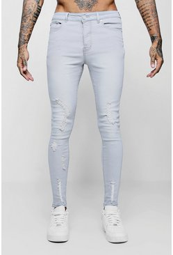 Mens Pale grey Spray on Skinny Jeans with All Over Rips