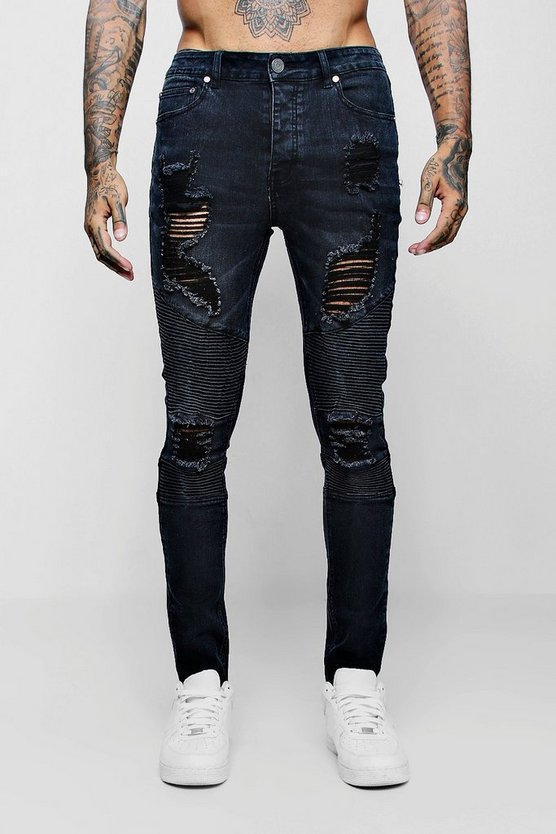 Mens Charcoal Super Skinny Biker Jeans with Extreme Rips