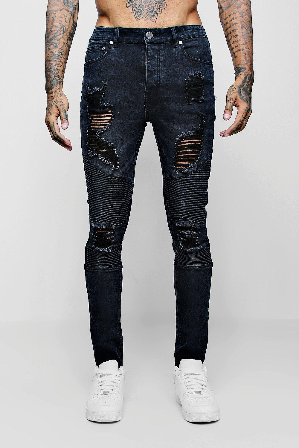 086ef31c1024 Super Skinny Biker Jeans with Extreme Rips | Boohoo