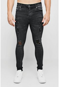 Ripped Knee Spray on Skinny Jeans, Charcoal, Uomo