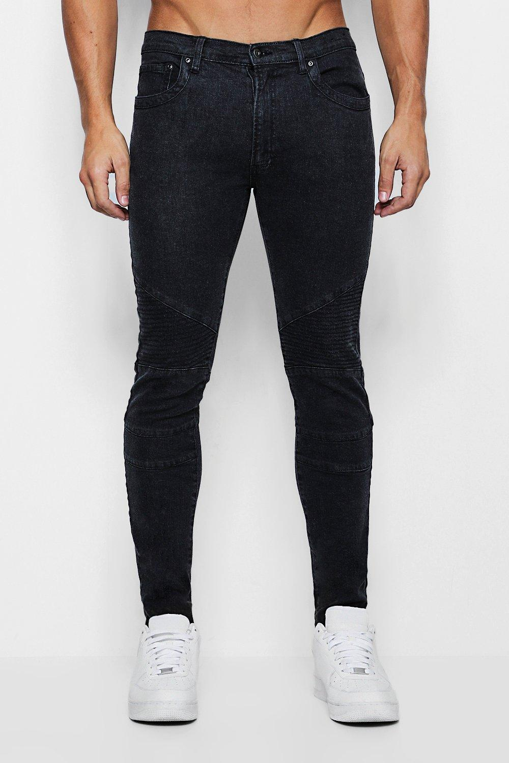 Skinny Fit Jeans with Biker Detailing