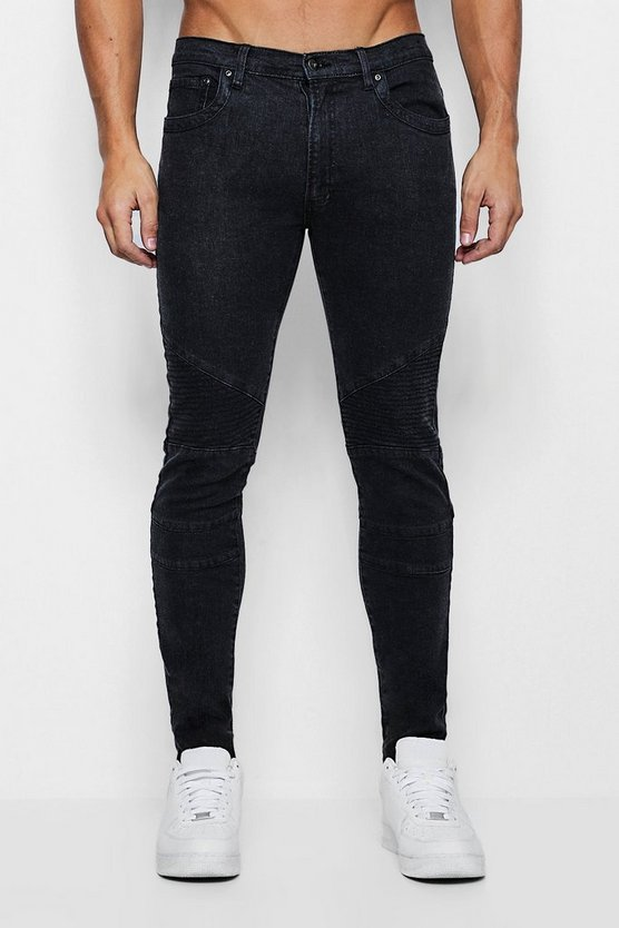 Mens Charcoal Skinny Fit Jeans with Biker Detailing