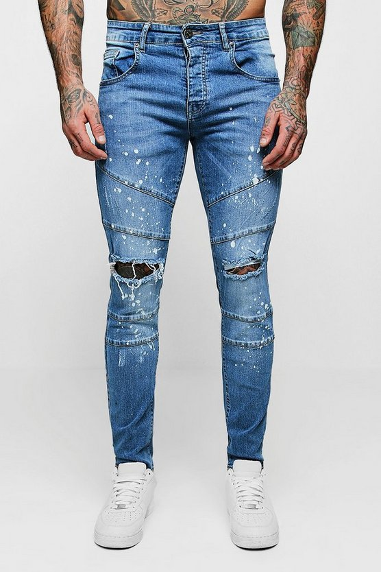 Skinny Fit Panelled Jeans with Paint Splatter