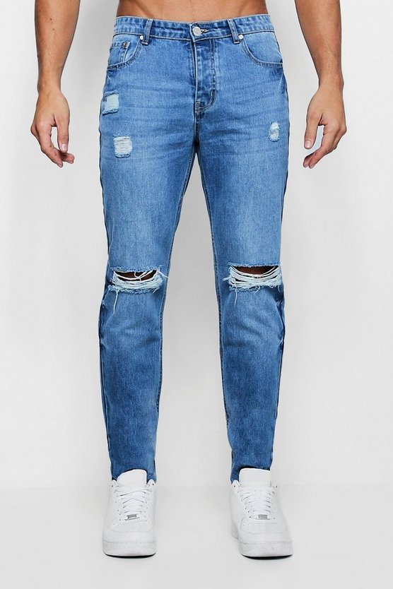 Slim Fit Rigid Jeans With Ripped Knees Slim Fit Rigid Jeans With Ripped Knees by Boohoo