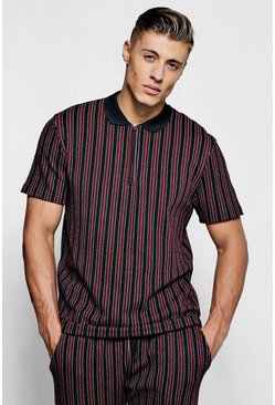 Mens Red Wide Set Stripe Smart Polo