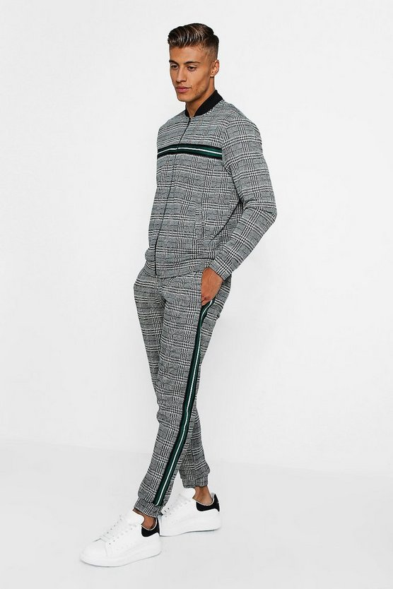 Checked Taped Detail Tracksuit by Boohoo Man