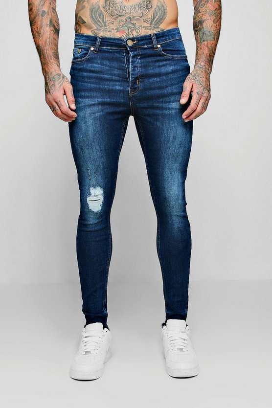 Spray On Skinny Jeans With Single Knee Rip