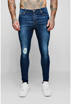 Mens Navy Spray On Skinny Jeans With Single Knee Rip