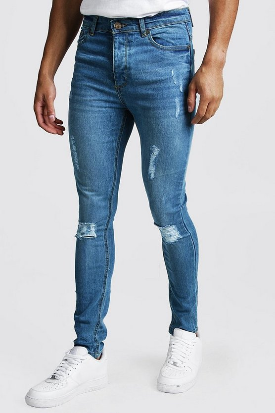 Mid blue Spray On Skinny Jeans With Distressing