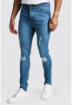 Mens Mid blue Spray On Skinny Jeans With Distressing