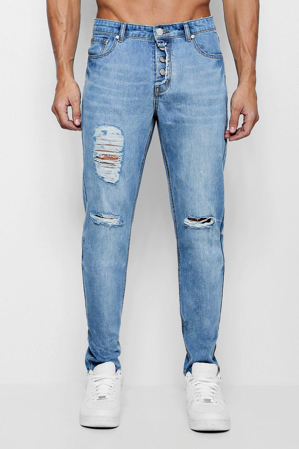 Skinny Fit Distressed Jeans With Exposed Fly