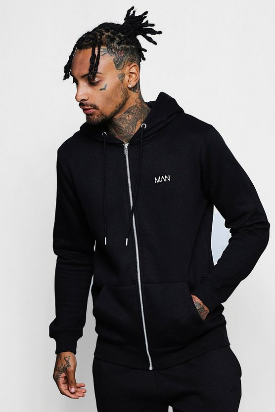 Original MAN Print Zip Through Hoodie