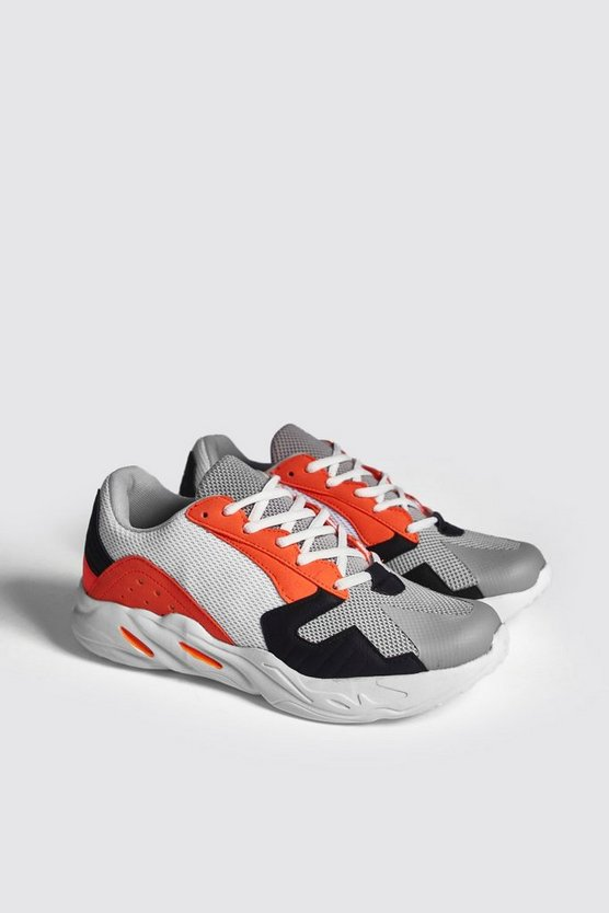 Mens Orange Mesh Upper Multi Panel Chunky Trainer