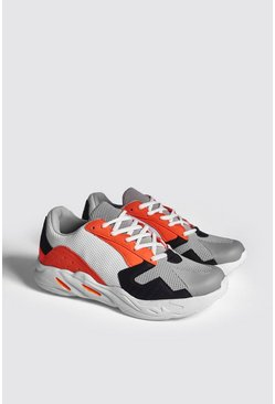 Mens Orange Mesh Upper Multi Panel Chunky Sneaker