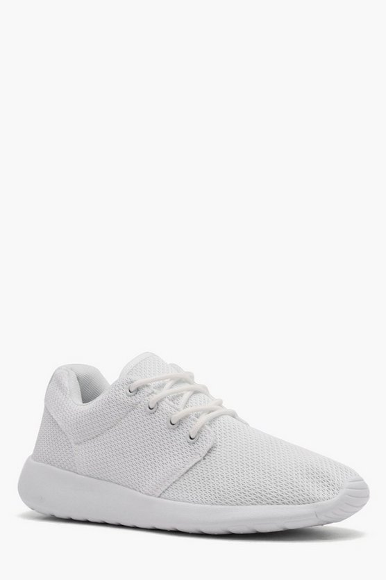 Mesh Upper Running Trainer, White, Uomo