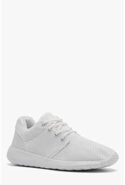 Mens White Mesh Upper Running Sneaker