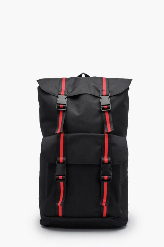 Mens Black Stripe Webbing Buckle Detail Nylon Rucksack
