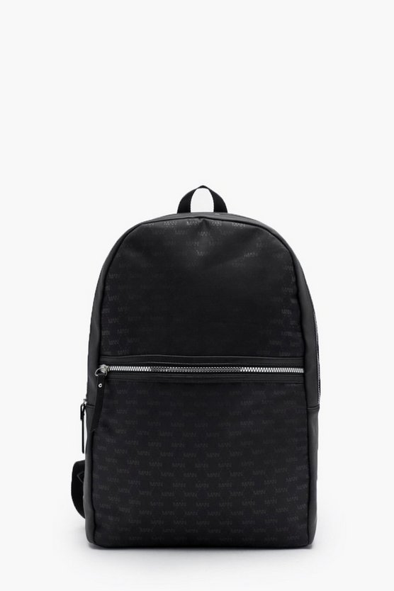 Black Mono MAN Repeat Nylon & Faux Leather Rucksack