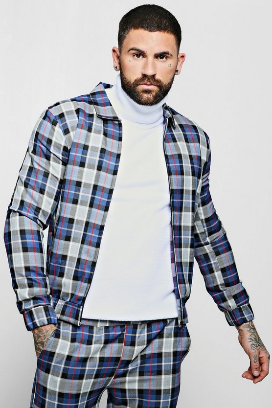 Mens Blue Large Tartan Check Smart Coach Jacket