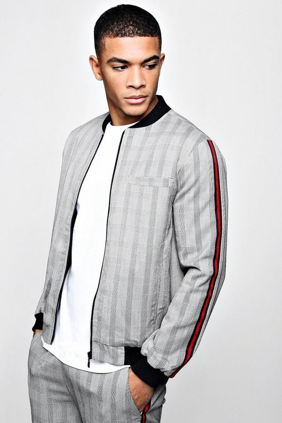 Mono Check Smart Bomber Jacket With Tape