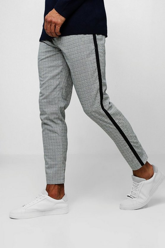 Smart Mini Dogtooth Cropped Jogger With Taping