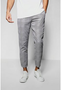 Mens Black Grid Check Smart Cropped Jogger Trouser
