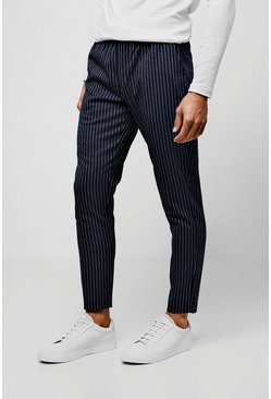 Mens Navy Pinstripe Smart Cropped Jogger Trouser