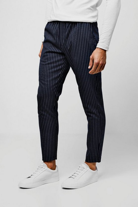 Mens Navy Pinstripe Smart Cropped Jogger Pants