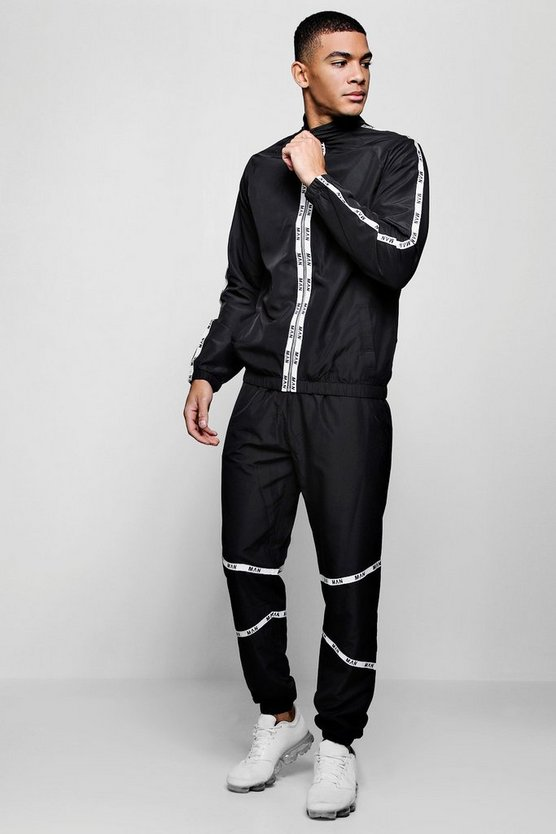 Mens Black MAN Tape Shell Tracksuit
