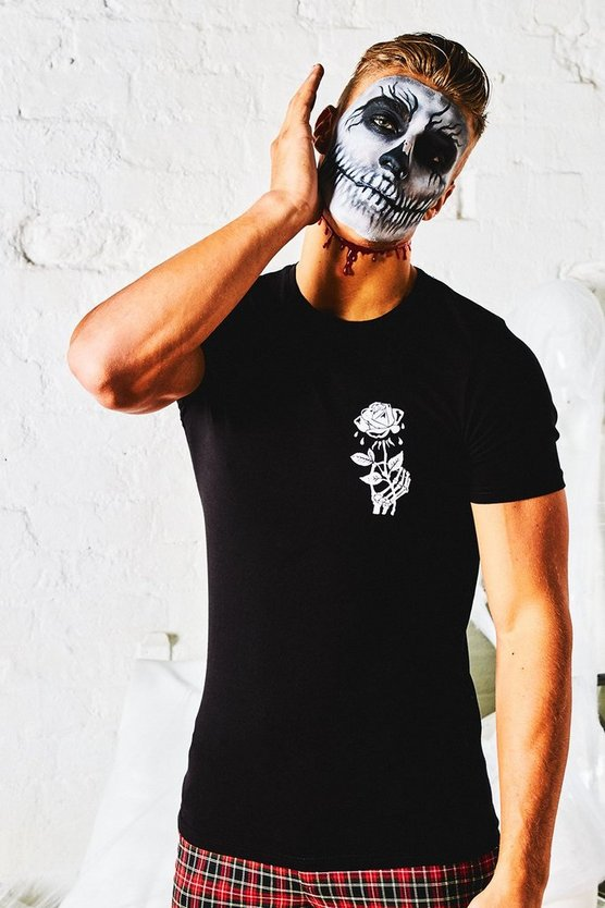 Halloween Muscle Fit T-Shirt With Rose Print