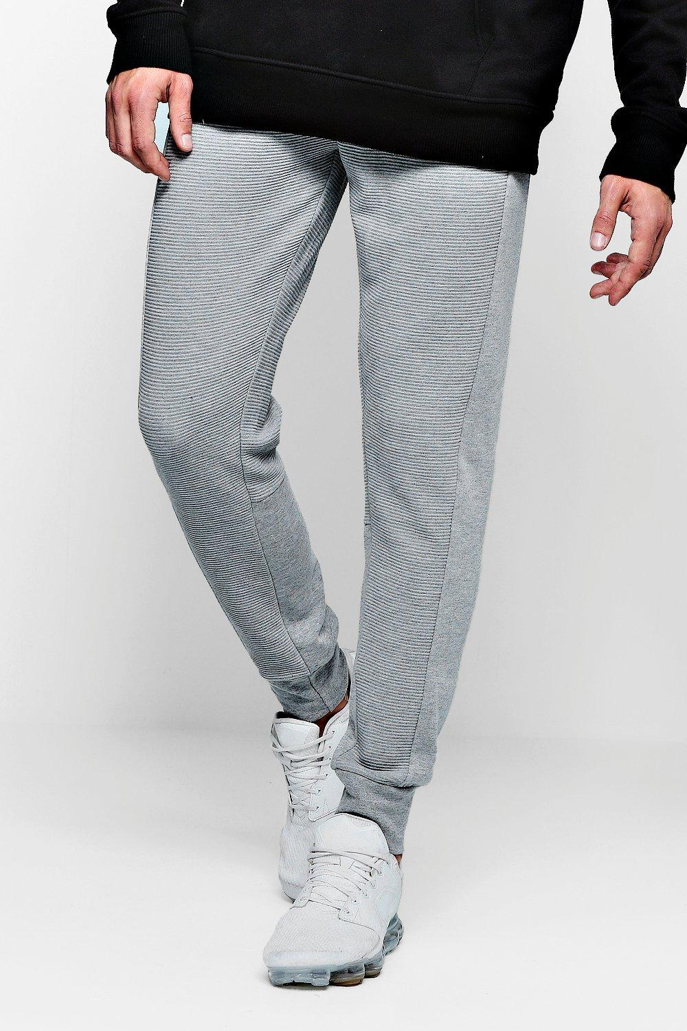 Joggers Checked marl Jersey Panel grey Side AqngvOPt