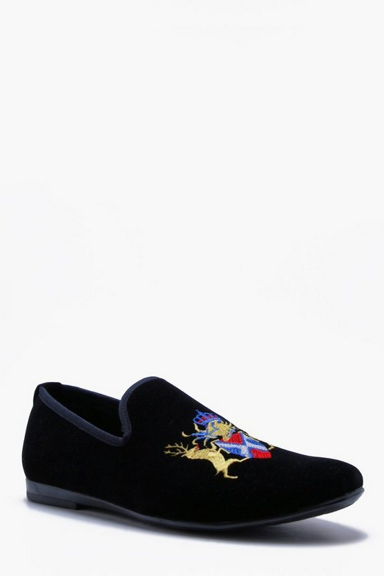 Faux Suede Emboridered Loafer