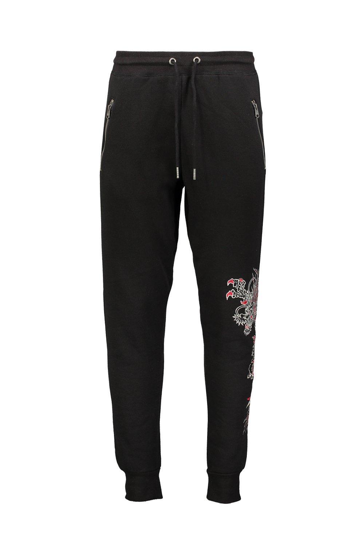 Oriental Cuffed black Joggers Detail Jersey q7xrSqAw