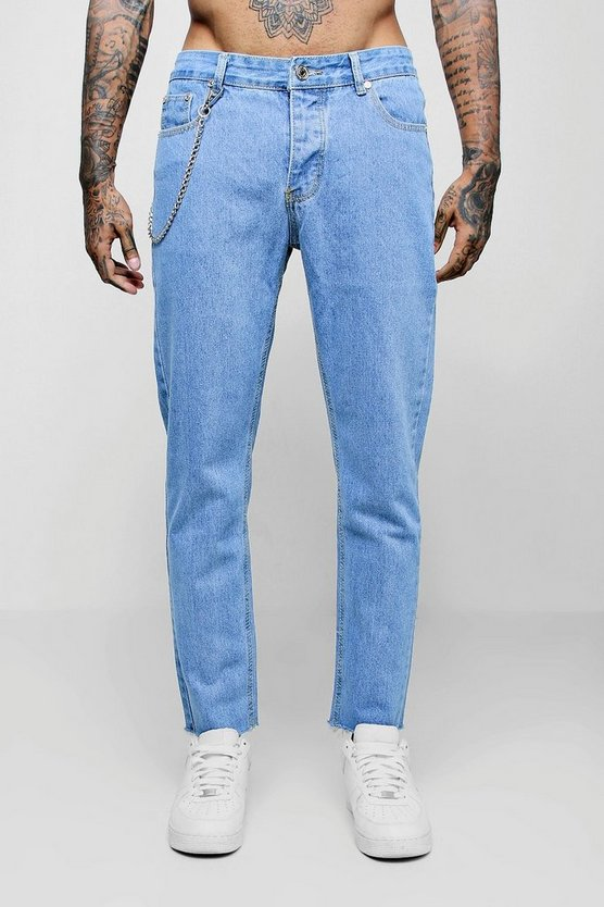 Skinny Fit Raw Hem Jeans With Chain Detail