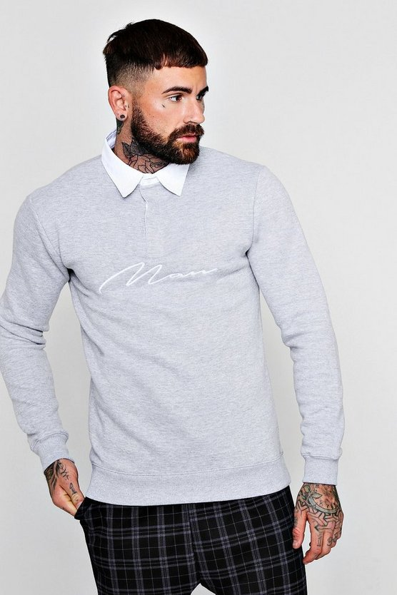 MAN Signature Embroidered Rugby Sweat