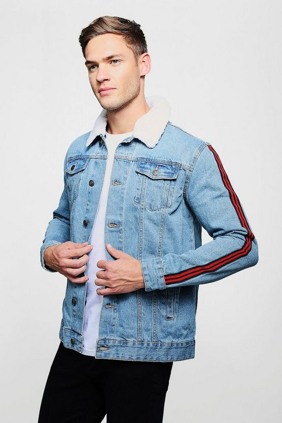 Side Stripe Denim Jacket With Borg Collar by Boohoo Man