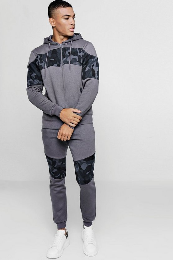 Camo Panel Zip Through Hooded Tracksuit