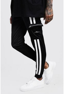 Black Tricot Cargo MAN Joggers With Contrast Tape