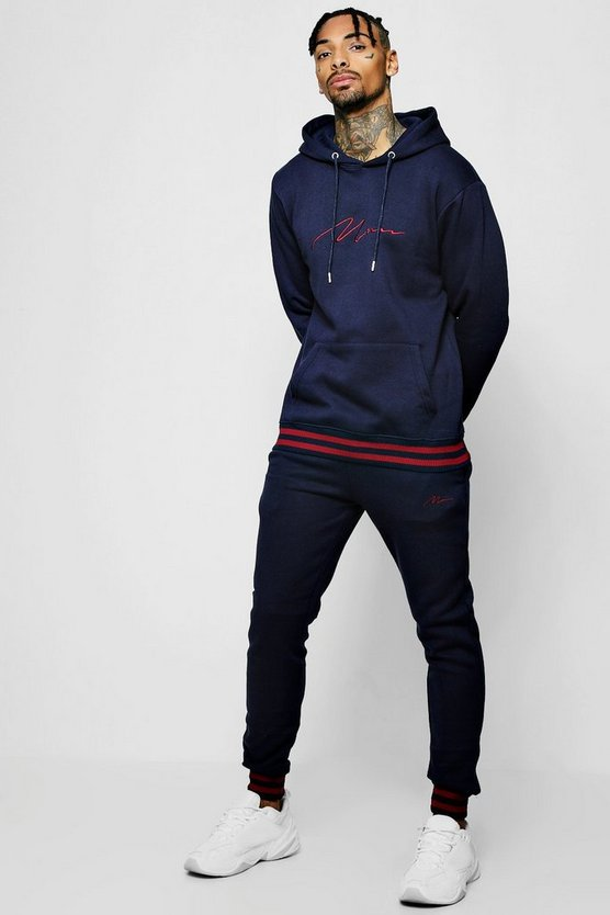 MAN Signature Hooded Tracksuit With Contrast Rib