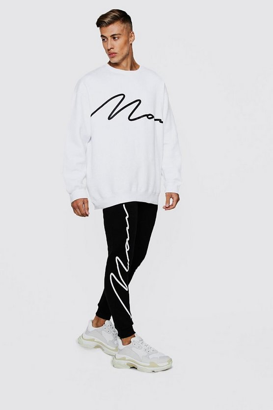 MAN Signature Oversized Print Sweater Tracksuit