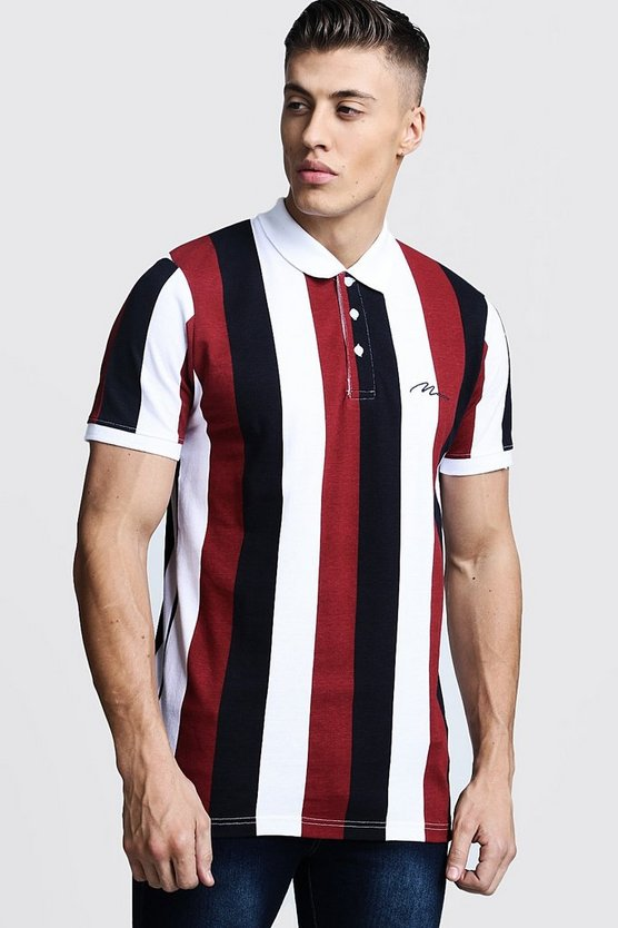 Mens Multi MAN Embroidered Striped Pique Polo