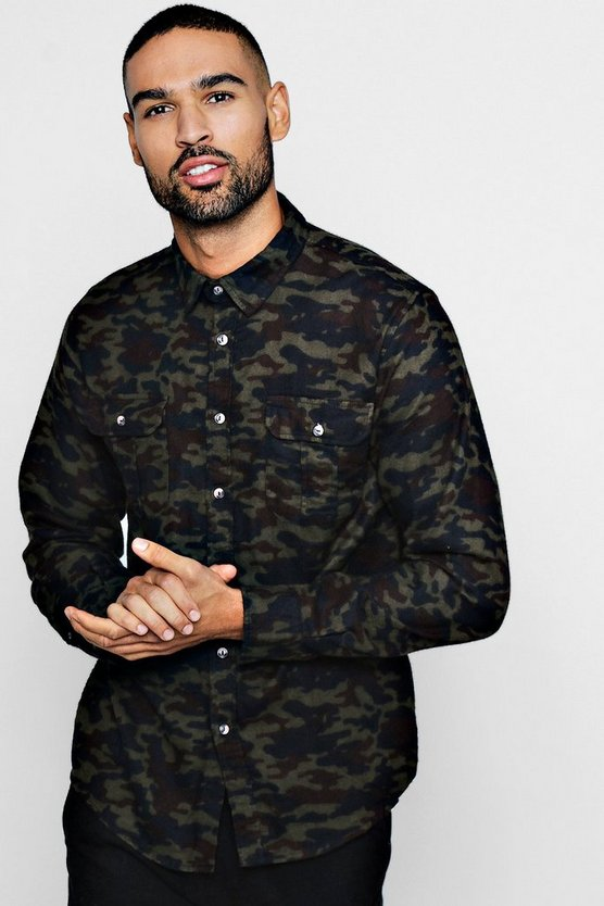 Brushed Flannel Camo Long Sleeve Shirt