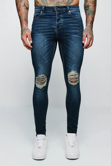 Mens Antique wash Spray On Skinny Jeans With Ripped Knees