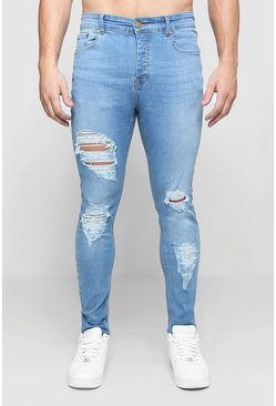 Mens Washed blue Skinny Fit Jeans With All Over Rips