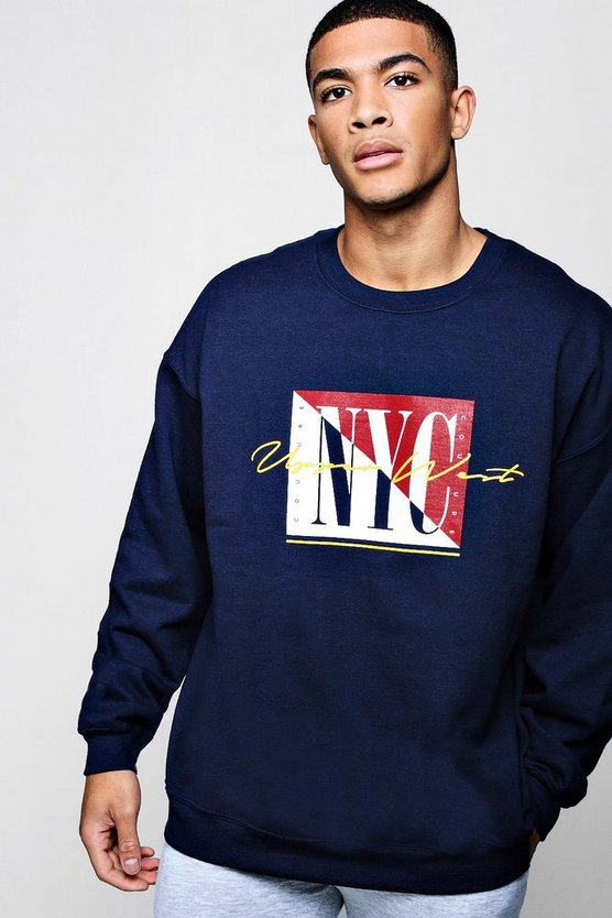 Nyc Slogan Oversized Sweater by Boohoo Man