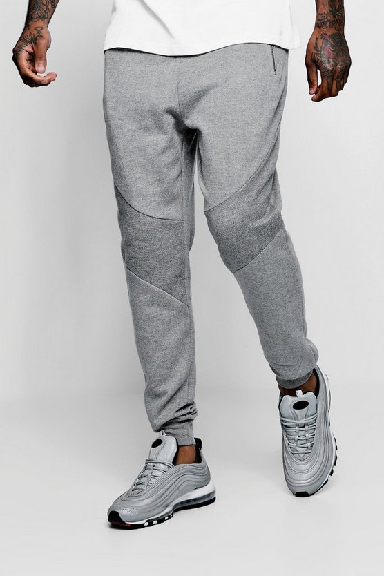 Jersey Joggers With Front Panel Detail