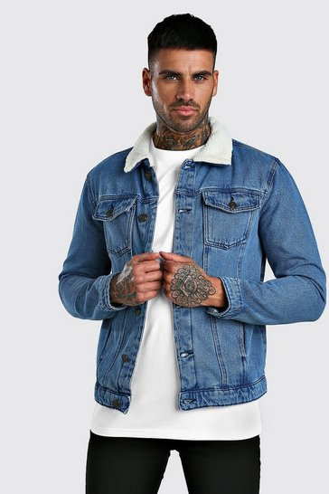 Mid blue Borg Collar Regular Denim Jacket